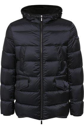 Пуховая куртка на молнии с капюшоном Moorer синяя   Фото №1