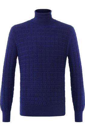 Кашемировый свитер с воротником-стойкой Cruciani синий | Фото №1