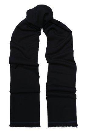 Мужской шерстяной шарф с необработанным краем LORO PIANA темно-синего цвета, арт. FAI1134 | Фото 1