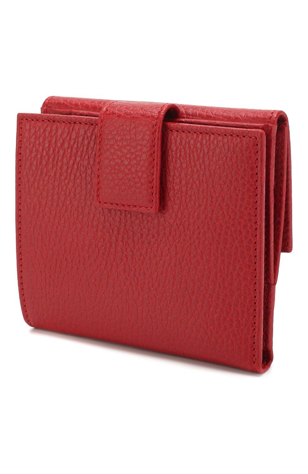 Кожаное портмоне с логотипом бренда Gucci красного цвета | Фото №2
