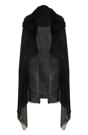 Женская кашемировое пончо с меховой отделкой VINTAGE SHADES черного цвета, арт. 12250 | Фото 1