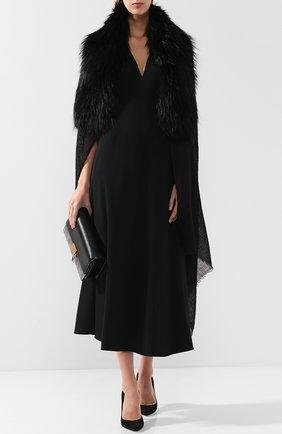 Женская кашемировое пончо с меховой отделкой VINTAGE SHADES черного цвета, арт. 12250 | Фото 2