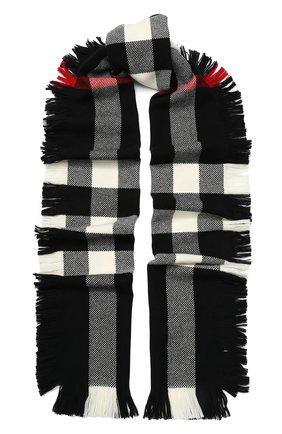 Шерстяной шарф в клетку с бахромой | Фото №1