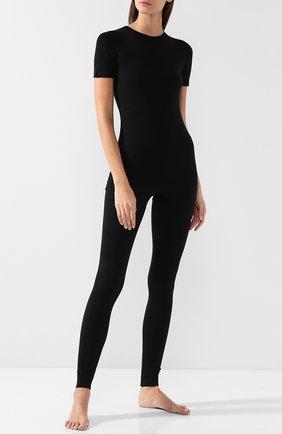 Удлиненная облегающая футболка Norveg черная | Фото №1