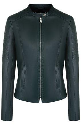 Кожаная куртка на молнии с воротником-стойкой BOSS темно-зеленая | Фото №1