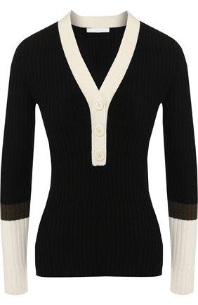 Шерстяной пуловер с V-образным вырезом BOSS зеленый | Фото №1