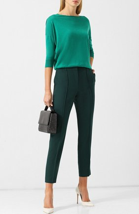 Шерстяные брюки со стрелками BOSS зеленые | Фото №1