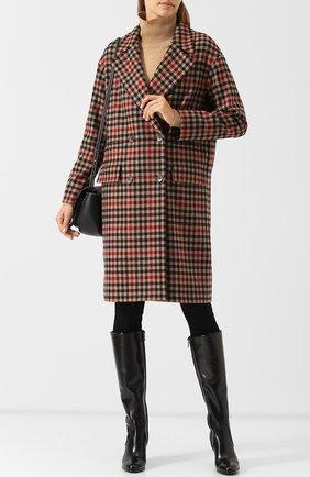 Двубортное шерстяное пальто в клетку BOSS бежевого цвета | Фото №1