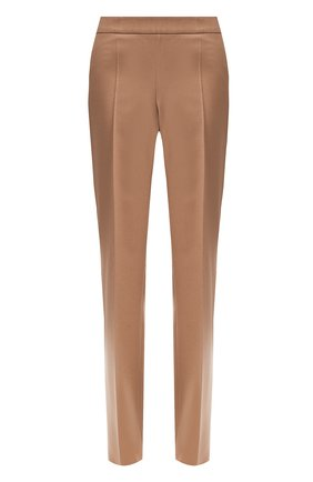 Шерстяные брюки со стрелками BOSS бежевые | Фото №1