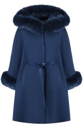 Женское кашемировое пальто с поясом и меховой отделкой LORO PIANA синего цвета, арт. FAG4619 | Фото 1