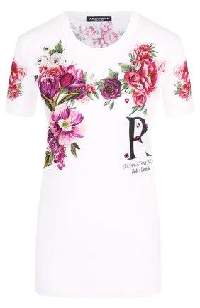 Хлопковая футболка с принтом Dolce & Gabbana белая   Фото №1