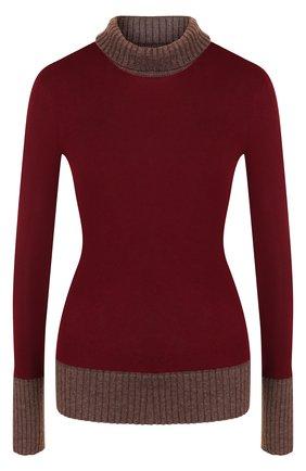 Водолазка из смеси шерсти и хлопка  Victoria Beckham бордовая | Фото №1