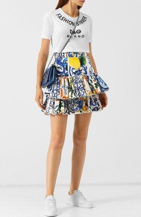 Хлопковая мини-юбка с оборками и принтом Dolce & Gabbana разноцветная   Фото №1