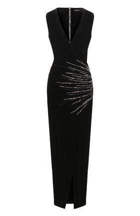 ae106da765de8dd Бархатное платье-макси с декоративной отделкой | Фото №1