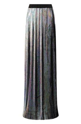 Плиссированная юбка-макси Balmain серебряная   Фото №1