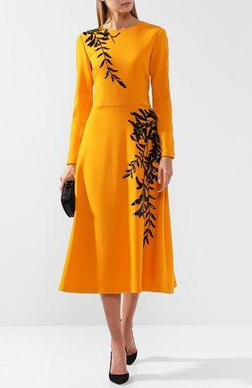 Шерстяное платье-миди с декоративной отделкой Oscar de la Renta оранжевое | Фото №1