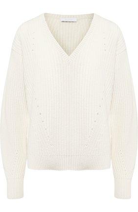 Пуловер из смеси шерсти и кашемира Cruciani белый | Фото №1