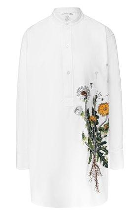 Женская хлопковая блуза с декоративной отделкой Oscar de la Renta, цвет белый, арт. 18FE734SCZ в ЦУМ | Фото №1