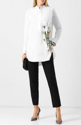 Укороченные шерстяные брюки Oscar de la Renta черные | Фото №1