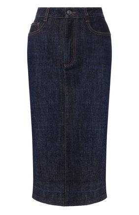 Джинсовая юбка с потертостями | Фото №1