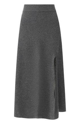 Кашемировая юбка с высоким разрезом | Фото №1
