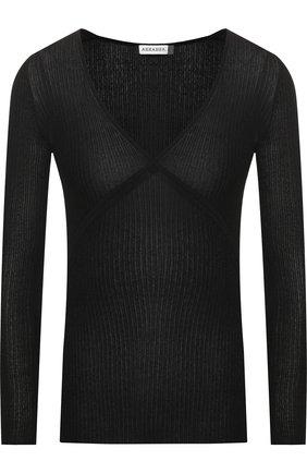 Пуловер с V-образным вырезом и металлизированной нитью | Фото №1