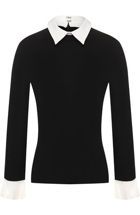 Шерстяной пуловер с контрастными манжетами и воротником Alice + Olivia черно-белый   Фото №1