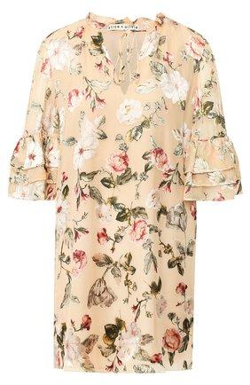 Мини-платье с оборками и принтом Alice + Olivia разноцветное   Фото №1