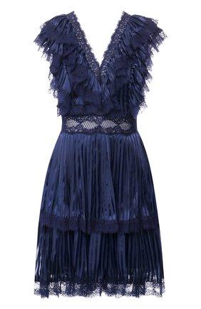 Мини-платье с V-образным вырезом и оборками Alice + Olivia синее   Фото №1