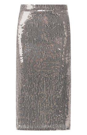 Юбка-карандаш с пайетками Alice + Olivia серебряная   Фото №1