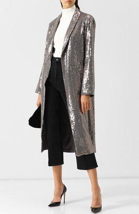 Пальто прямого кроя с пайетками Alice + Olivia серебряного цвета   Фото №1
