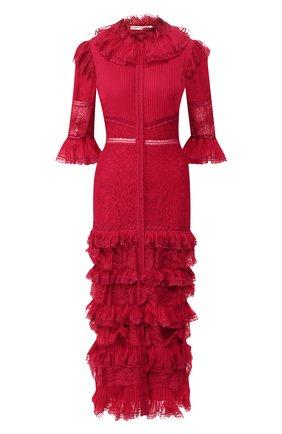 Приталенное платье с оборками и кружевной отделкой Alice + Olivia малиновое   Фото №1