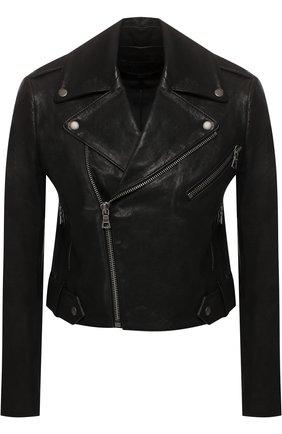 Кожаная куртка с косой молнией Alice + Olivia черная   Фото №1