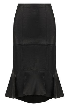 Кожаная юбка с оборкой Alice + Olivia черная   Фото №1
