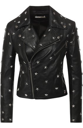 Кожаная куртка с декоративной отделкой Alice + Olivia черная   Фото №1