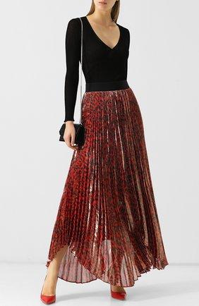 Плиссированная шелковая юбка с принтом Alice + Olivia разноцветная   Фото №1