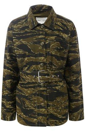 Хлопковая куртка с поясом и принтом Proenza Schouler хаки | Фото №1