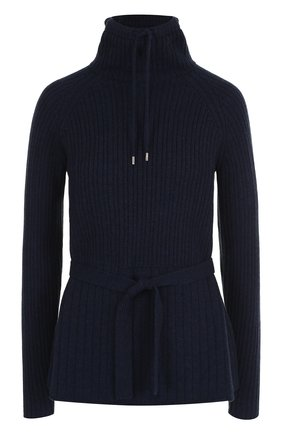 Женский кашемировый пуловер с поясом и воротником-стойкой LORO PIANA темно-синего цвета, арт. FAI1798   Фото 1