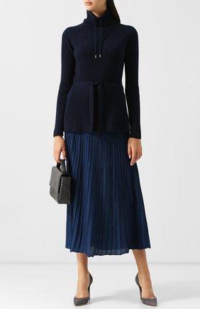 Женский кашемировый пуловер с поясом и воротником-стойкой LORO PIANA темно-синего цвета, арт. FAI1798   Фото 2