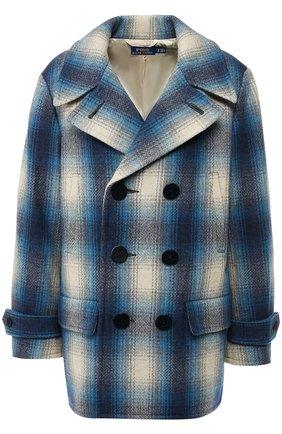 Двубортное шерстяное пальто Polo Ralph Lauren синего цвета | Фото №1
