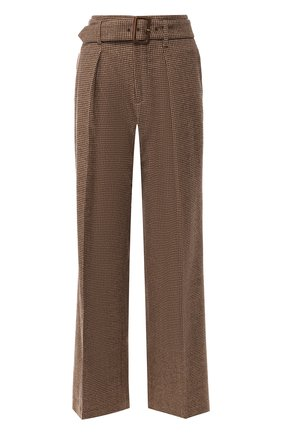 Шерстяные брюки со стрелками и поясом Polo Ralph Lauren коричневые | Фото №1