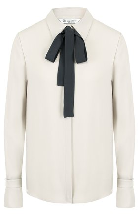 Шелковая блуза с контрастным бантом | Фото №1