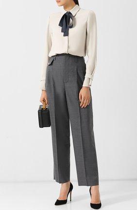 Шелковая блуза с контрастным бантом   Фото №2