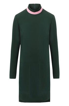 Платье из смеси шелка и шерсти с воротником-стойкой Burberry зеленое   Фото №1