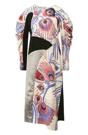 Платье-миди с круглым вырезом и принтом | Фото №1