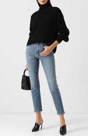 Укороченные джинсы с потертостями Proenza Schouler голубые | Фото №1