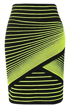Мини-юбка в контрастную полоску Balmain черная   Фото №1