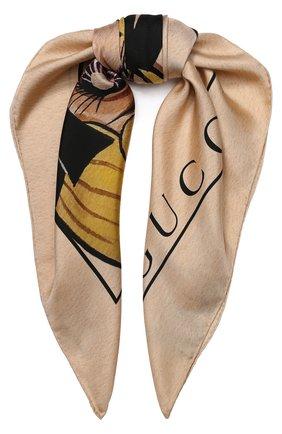 Женский шелковый платок с принтом GUCCI бежевого цвета, арт. 535086/3G001 | Фото 1