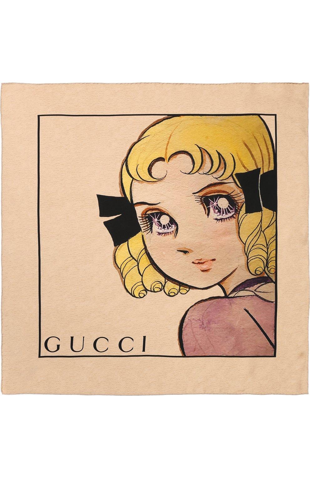 Женский шелковый платок с принтом GUCCI бежевого цвета, арт. 535086/3G001 | Фото 3