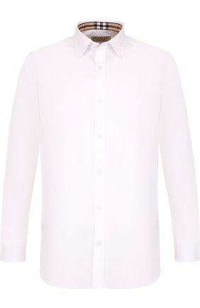 Мужская хлопковая рубашка с воротником кент BURBERRY белого цвета, арт. 8003071 | Фото 1